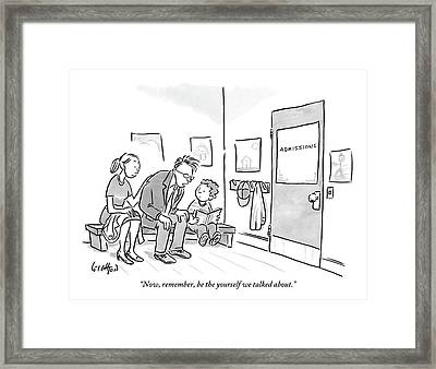 A Father Leans In To Give Advice To His Son Framed Print by Robert Leighton