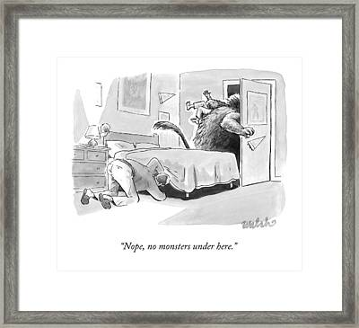 A Father Looks Under The Bed Framed Print