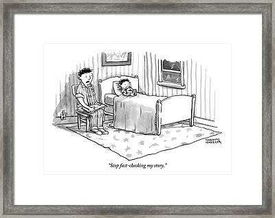 A Father Reads His Son A Bedtime Story Framed Print