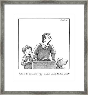 A Father, Son, And Dog All Worry At The Sight Framed Print