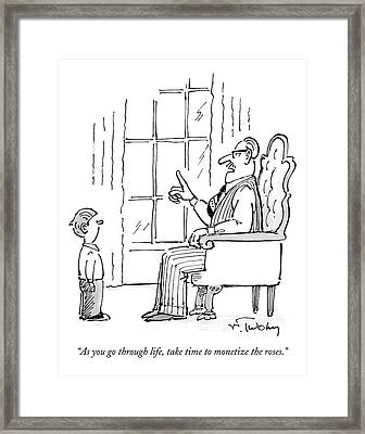 A Father Speaks To His Son Framed Print by Mike Twohy