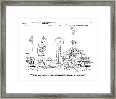 A Father Talks To His Angst-y Looking Son Who Framed Print