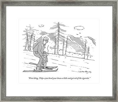 A Father Teaches His Son To Ski. The Son Framed Print by Michael Crawford