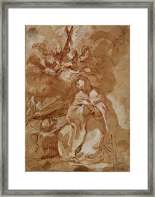A Female Saint Contemplating A Crucifix Attributed Framed Print by Litz Collection