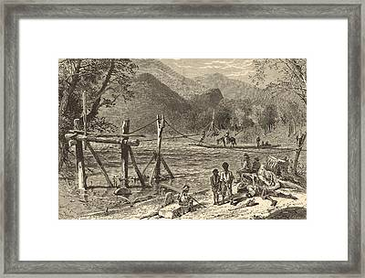 A Ferry On The French Broad 1872 Engraving Framed Print by Antique Engravings