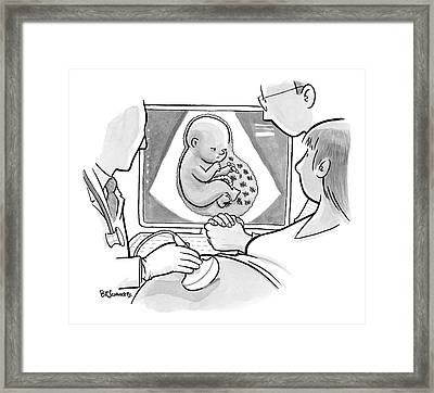 A Fetus In A Placenta Marks The Days As Ticks Framed Print