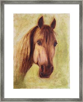 Framed Print featuring the painting A Fine Horse by Xueling Zou