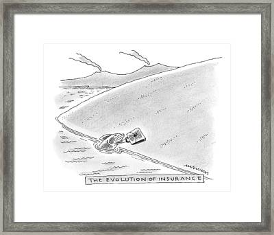 A Fish Reaches Out From The Water Holding Framed Print by Mick Stevens