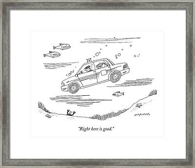 A Fish Rides In The Back Seat Of A Taxi Cab Framed Print