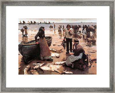 A Fish Sale On A Cornish Beach Framed Print by Stanhope Alexander Forbes