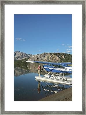 A Fisherman Casts For Lake Trout Framed Print