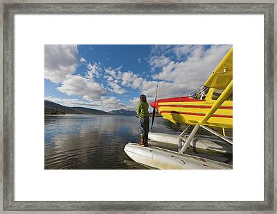 A Fisherman On A Floatplane In Scenic Framed Print