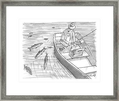 A Fisherman On A Rowboat Looks At The Fish Framed Print by Michael Crawford