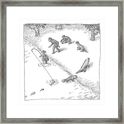 A Fisherman Wading In The Water  Catches A Fish Framed Print