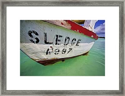 A Fishing Boat Named Sledge Framed Print by David Letts