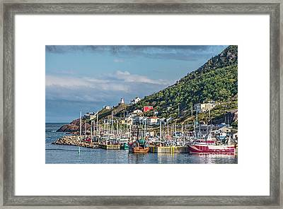 A Fishing Harbour In Newfoundland Canada Framed Print