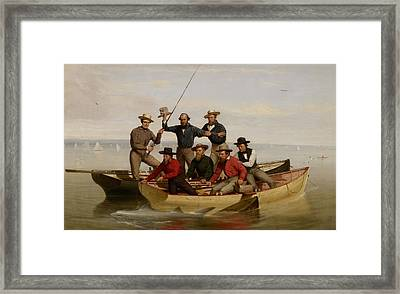 A Fishing Party Off Long Island Framed Print by Junius Brutus Stearns
