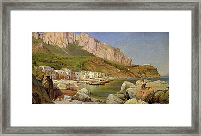 A Fishing Village At Capri Framed Print by Louis Gurlitt