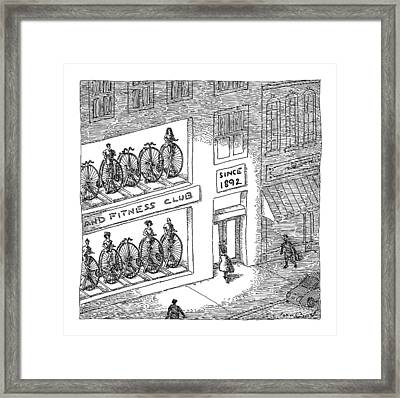 A Fitness Club With Sign Framed Print by John O'Brien