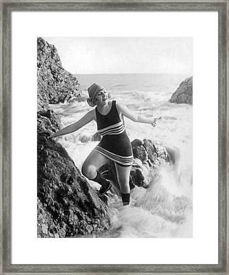 A Flapper In Her Bathing Suit Framed Print