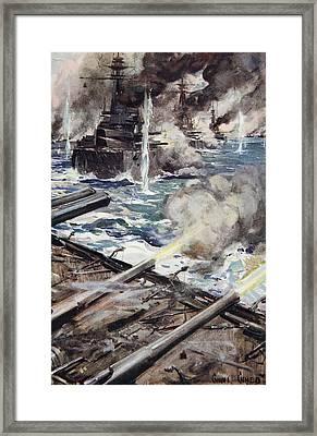 A Fleet Of Battleships Firing Framed Print by Cyrus Cuneo