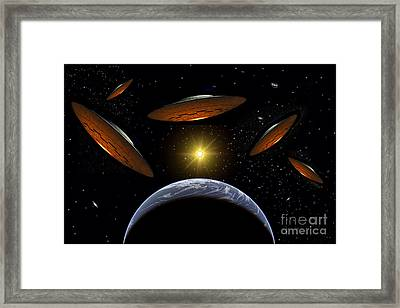 A Fleet Of Flying Saucers Arriving Framed Print by Stocktrek Images