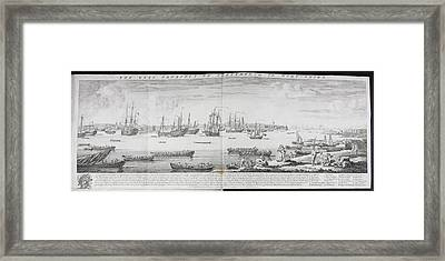 A Fleet Of Ships Off Portsmouth Framed Print by British Library