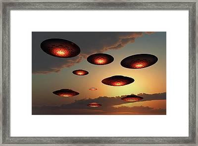 A Fleet Of Ufos Flying In Earths Framed Print