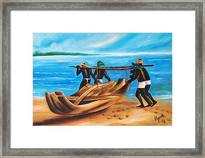 Framed Print featuring the painting A Float On The Ocean by Ragunath Venkatraman