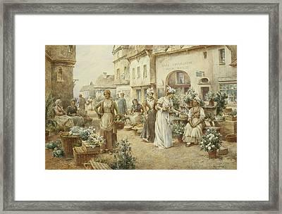 A Flower Market Framed Print