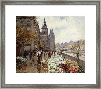 A Flower Market Along The Seine Framed Print by Georges Stein