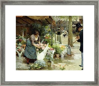 A Flower Market In Paris Framed Print by Louis de Schryver