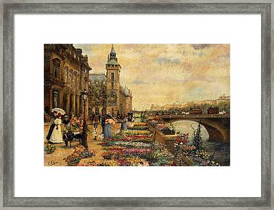 A Flower Market On The Seine Framed Print by Ulpiano Checa y Sanz