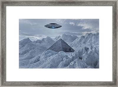 A Flying Saucer Hovering Over A Pyramid Framed Print