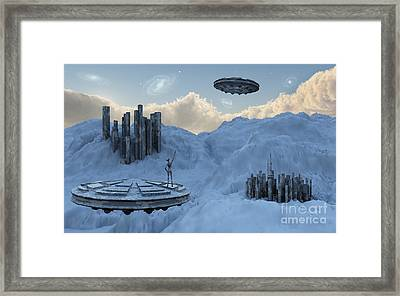 A Flying Saucer Returns To Its Home Framed Print by Mark Stevenson