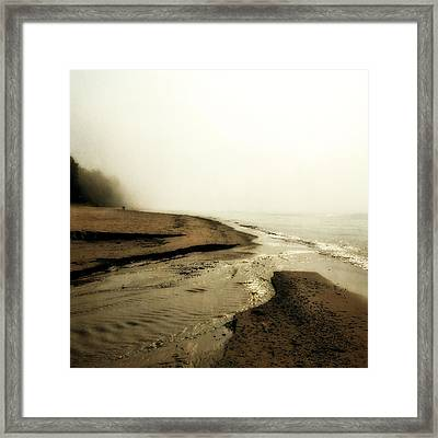 A Foggy Day At Pier Cove Beach Framed Print