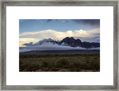 A Foggy Evening At The Superstitions Framed Print