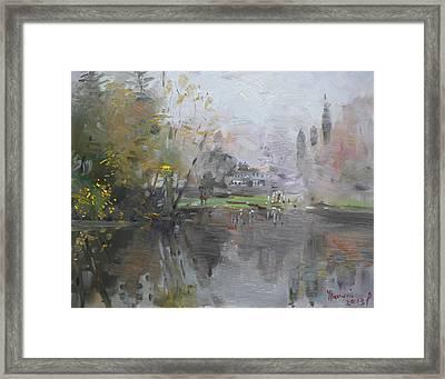 A Foggy Fall Day By The Pond  Framed Print by Ylli Haruni