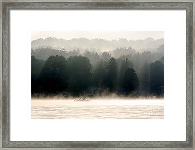 A Foggy Morning Fishing Framed Print