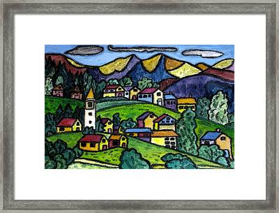 A Folksy Swiss Town Framed Print by Monica Engeler