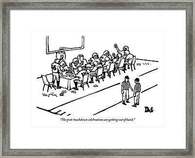 A Football Team Enjoys A Seated Dinner With Wine Framed Print