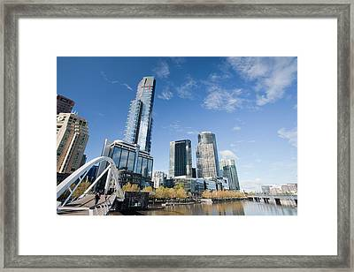 A Footbridge Across The Yarra River Framed Print by Ashley Cooper