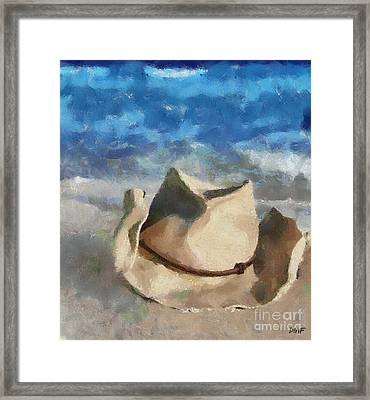 A Forgotten Hat On The Beach Framed Print by Dragica  Micki Fortuna