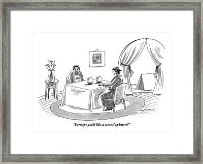 A Fortune Teller Is Speaking With A Sad-looking Framed Print by Mick Stevens