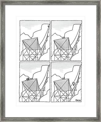 A Four-paneled Cartoon Shows A Skier On A Huge Framed Print