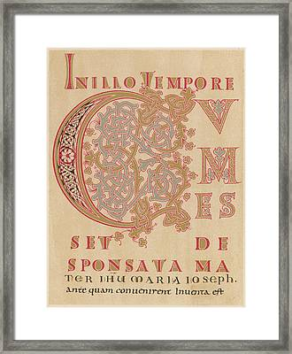 A Fragment Of Sintram's Evangelium Framed Print by Mary Evans Picture Library