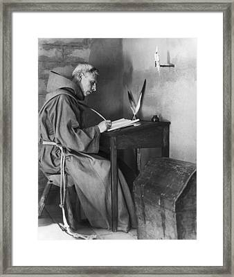 A Franciscan Padre Writing Framed Print