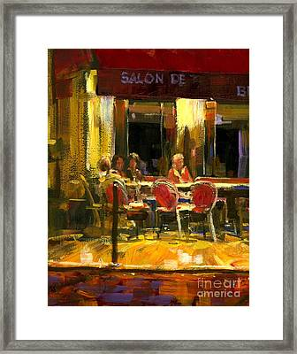 A French Cafe And Friends Framed Print by Michael Swanson