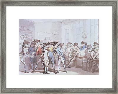 A French Coffee House Framed Print by Thomas Rowlandson
