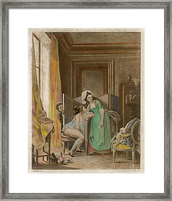 A French Lady Uses Her Bidet  But Framed Print by Mary Evans Picture Library